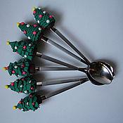 """Посуда ручной работы. Ярмарка Мастеров - ручная работа Ложки """"Новогодние елочки"""". Handmade."""