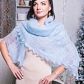 Аксессуары handmade. Livemaster - original item Downy handkerchief pale blue. Handmade.