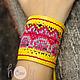 """Браслеты ручной работы. Ярмарка Мастеров - ручная работа. Купить Желтый кожаный браслет """"Hmong in Yellow"""". Handmade."""