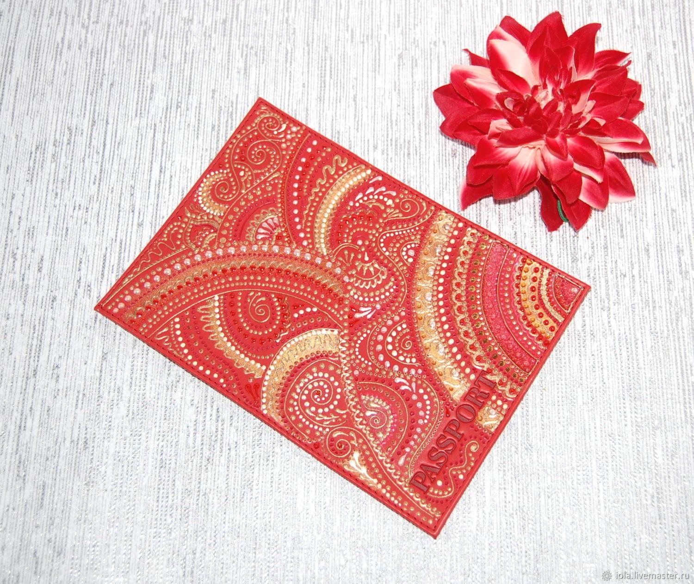 Обложка для паспорта красная обложка с росписью, Обложка на паспорт, Москва,  Фото №1