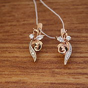 Золотые серьги Травинка, золото 585 рос.