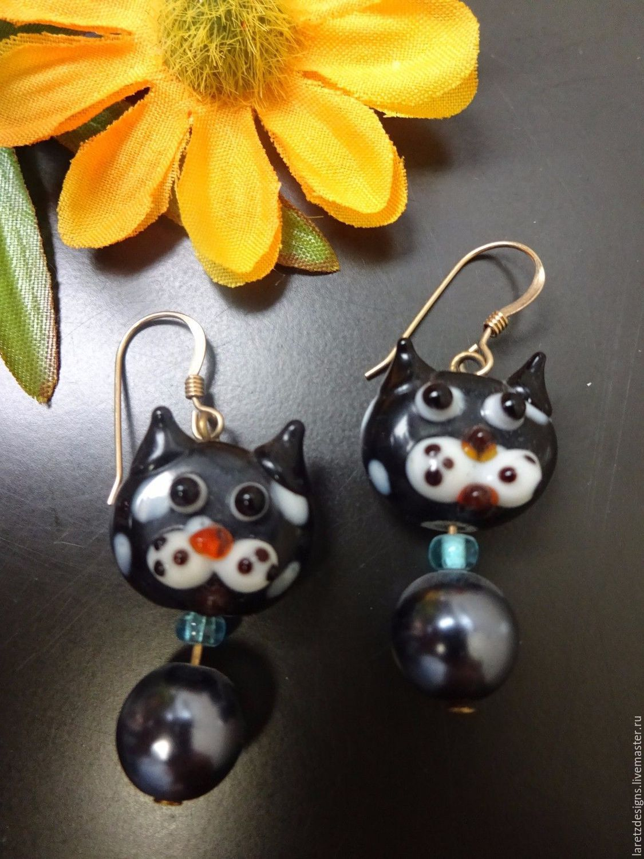 Beaded BLACK CATS earrings - 14k gold plated hooks, Earrings, Colorado Springs,  Фото №1