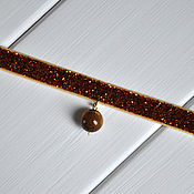 Украшения ручной работы. Ярмарка Мастеров - ручная работа Чокер женский Золотисто-коричневый из бархатной ленты. Handmade.