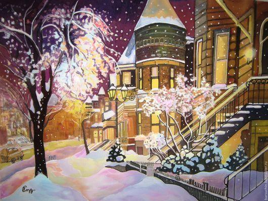 """Город ручной работы. Ярмарка Мастеров - ручная работа. Купить """"Рождественский ноктюрн"""". Handmade. Комбинированный, Снег, волшебство, акриловые краски"""