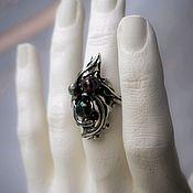 Украшения handmade. Livemaster - original item Wild silver THISTLE RING with black baroque pearls. Dark Gothic style.. Handmade.