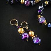 Серьги классические ручной работы. Ярмарка Мастеров - ручная работа Серьги из золота с фиолетовым агатом. Handmade.