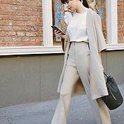 Одежда ручной работы. Ярмарка Мастеров - ручная работа Костюм: удлинённый жакет+широкие брюки. Handmade.
