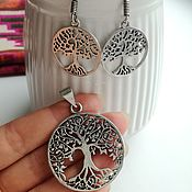 Украшения handmade. Livemaster - original item Earrings and pendant - the Tree of life. Handmade.