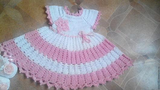 Одежда для девочек, ручной работы. Ярмарка Мастеров - ручная работа. Купить платье для девочки летнее крючком Мамина нежность. Handmade.