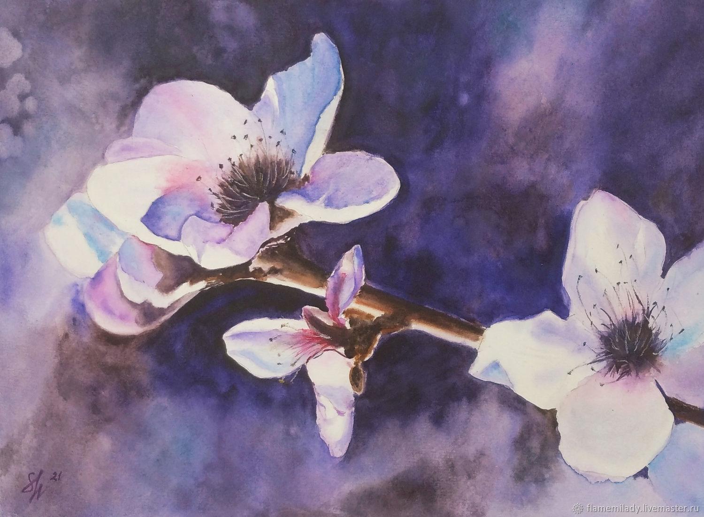 Watercolour ' Almond blossoms', Pictures, Ekaterinburg,  Фото №1