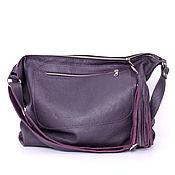 Сумки и аксессуары handmade. Livemaster - original item Crossbody bag Purple leather Crossbody Bag with a tassel. Handmade.