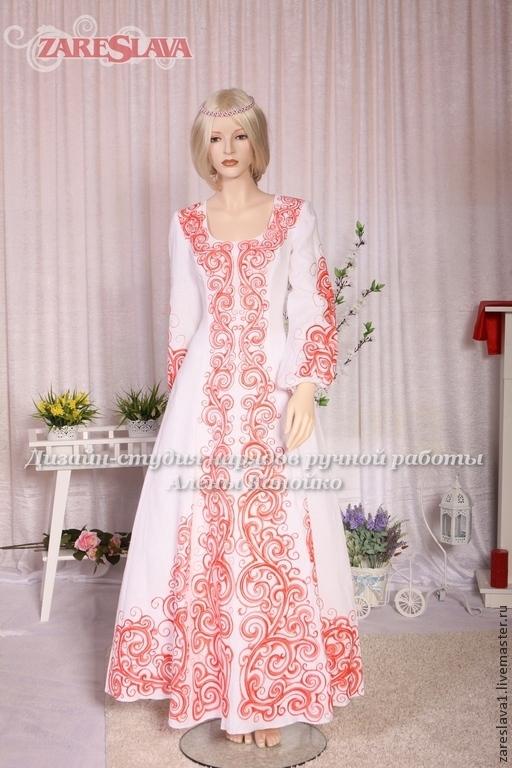 Одежда ручной работы. Ярмарка Мастеров - ручная работа. Купить Платье свадебное для Елены. Handmade. Ярко-красный, русские мотивы