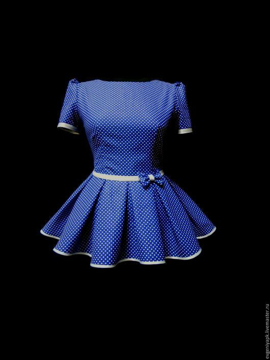 """Блузки ручной работы. Ярмарка Мастеров - ручная работа. Купить Блузка с баской """"Твист"""". Handmade. Синий, блузка, рубашка в клетку"""