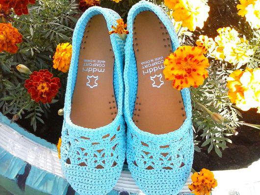 Обувь ручной работы. Ярмарка Мастеров - ручная работа. Купить Ажурные балетки. Handmade. Обувь на заказ, Вязание крючком