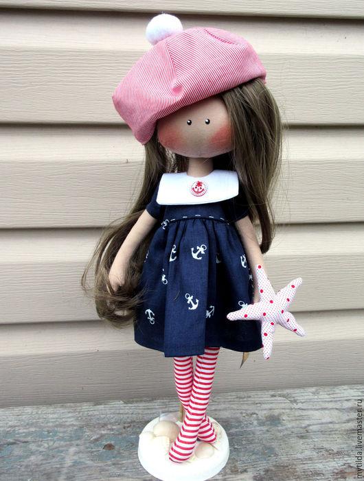 Куклы тыквоголовки ручной работы. Ярмарка Мастеров - ручная работа. Купить Дочь моряка. Handmade. Тёмно-синий, морская звезда