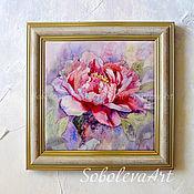 Картина Розовый Пион, Декоративное Панно с Цветами картина с Пионами,
