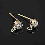 Материалы для творчества handmade. Livemaster - original item Earrings studs gold plated cubic Zirconia South Korea (2193). Handmade.