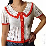 Одежда handmade. Livemaster - original item Blouse womens Mango summer, knitting, orange, cotton. Handmade.