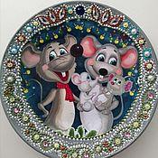 Год Крысы 2020 ручной работы. Ярмарка Мастеров - ручная работа Год Крысы 2020: Декоративная тарелка. Handmade.
