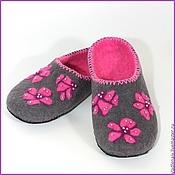 """Обувь ручной работы. Ярмарка Мастеров - ручная работа Тапочки """"Серо-розовые"""". Handmade."""