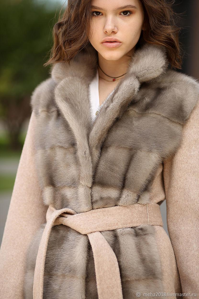 Пальто: Кашемировое пальто с мехом норки, Шубы, Москва,  Фото №1