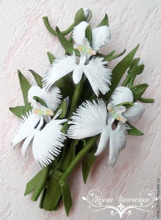 """Броши ручной работы. Ярмарка Мастеров - ручная работа. Купить Кожаная брошь """"Орхидея Белой Цапли"""". Handmade. Белый"""