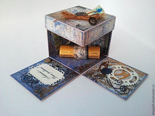 """Открытки для мужчин, ручной работы. Ярмарка Мастеров - ручная работа. Купить Magic Box """" Мужчине в день рождения"""". Handmade."""