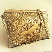 Сумки и аксессуары handmade. Livemaster - original item Women`s handbag, gold, clutch, lizard. Handmade.