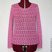 """Одежда ручной работы. Ярмарка Мастеров - ручная работа Кашемировый джемпер вязаный крючком """"Розовый коралл"""". Handmade."""