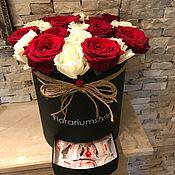 """Цветы и флористика ручной работы. Ярмарка Мастеров - ручная работа Букет из роз в шляпной коробке """"Микс"""". Handmade."""