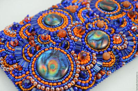 """Для телефонов ручной работы. Ярмарка Мастеров - ручная работа. Купить Чехол  """"Оранжевое море"""". Handmade. Тёмно-синий, кристаллы"""