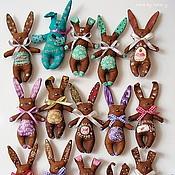 Куклы и игрушки ручной работы. Ярмарка Мастеров - ручная работа Зайчики. Мишки. Кофейные игрушки. Магниты.. Handmade.