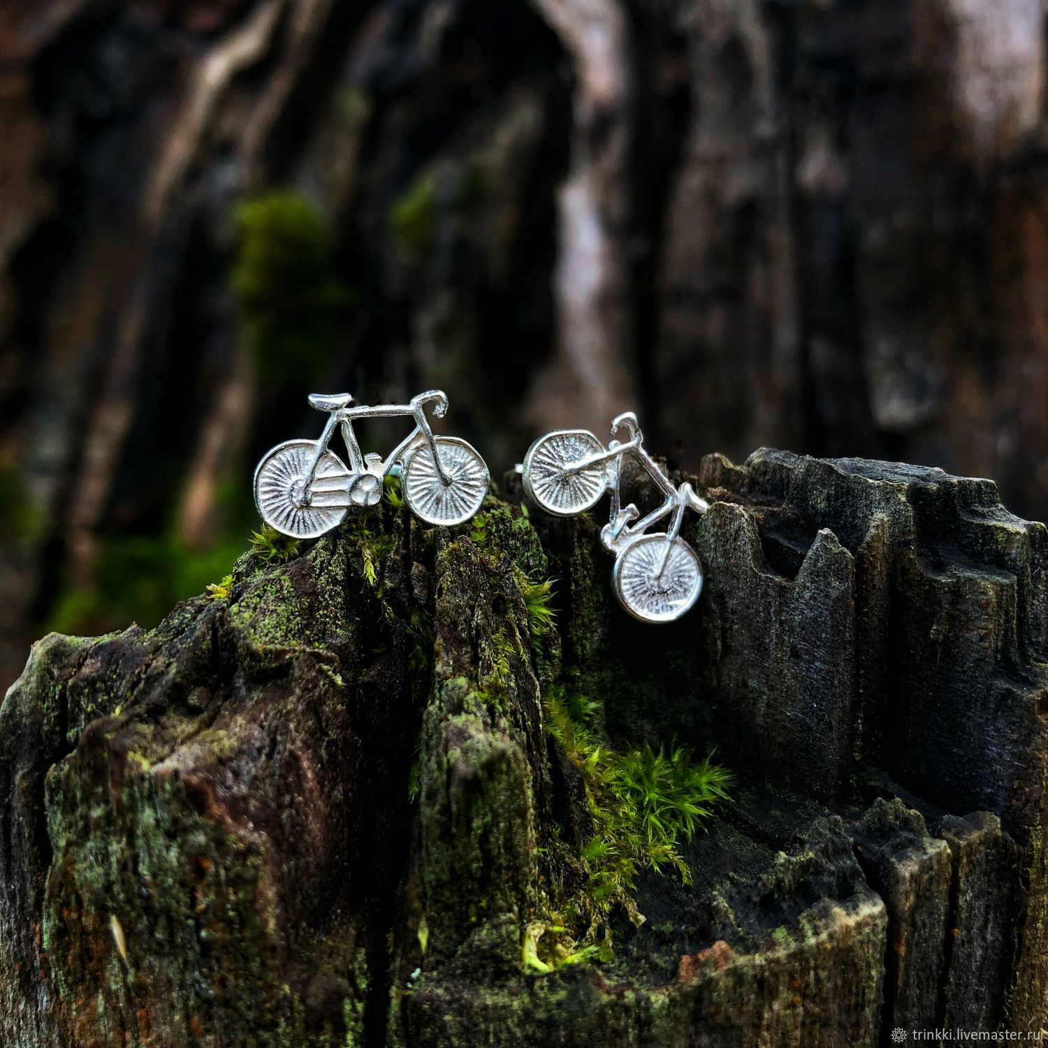 Bicycle, earrings with twists of silver, Earrings, Tver,  Фото №1