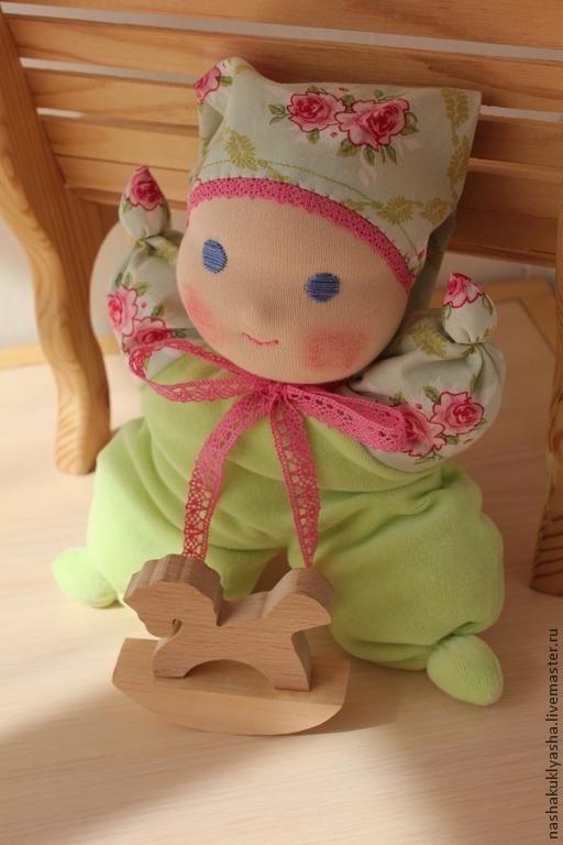 Вальдорфская игрушка ручной работы. Ярмарка Мастеров - ручная работа. Купить Вальдорфская кукла Малышка Весняшка. Handmade. Салатовый, вальдорф