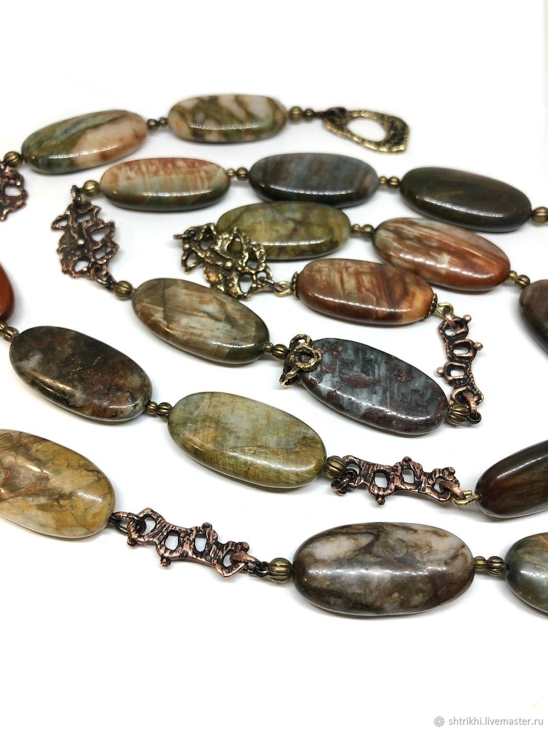 Long Assorted beads. Natural stones, author's accessories, Necklace, Moscow,  Фото №1