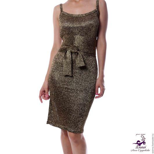 """Платья ручной работы. Ярмарка Мастеров - ручная работа. Купить Платье-майка """"Черное Золото"""" вязаное из мягчайшей итальянской. Handmade."""
