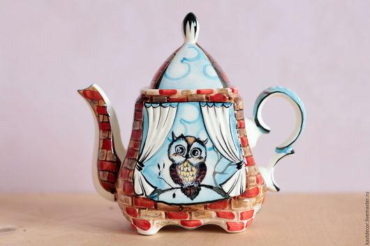 """Чайники, кофейники ручной работы. Ярмарка Мастеров - ручная работа. Купить Чайник заварочный фарфоровый """"Совёнок"""". Handmade. Разноцветный"""