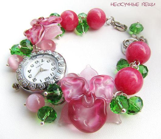 """Часы ручной работы. Ярмарка Мастеров - ручная работа. Купить Часы """"Тропический сад"""". Handmade. Часы, стеклянные цветы, металлофурнитура"""