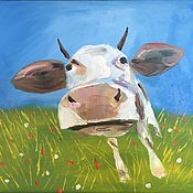 Картины и панно ручной работы. Ярмарка Мастеров - ручная работа Корова. Handmade.