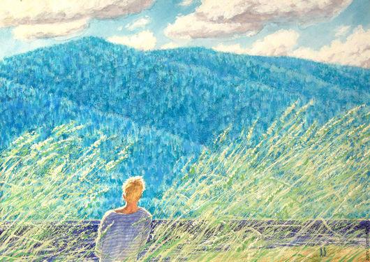 Пейзаж ручной работы. Ярмарка Мастеров - ручная работа. Купить Свежий ветер. Handmade. Голубой, пейзаж, графика, акварель, река