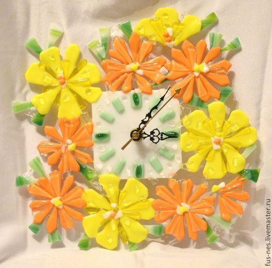 Часы для дома ручной работы. Ярмарка Мастеров - ручная работа. Купить Часики Весенние Фьюзинг. Handmade. Оранжевый, Фьюзинг