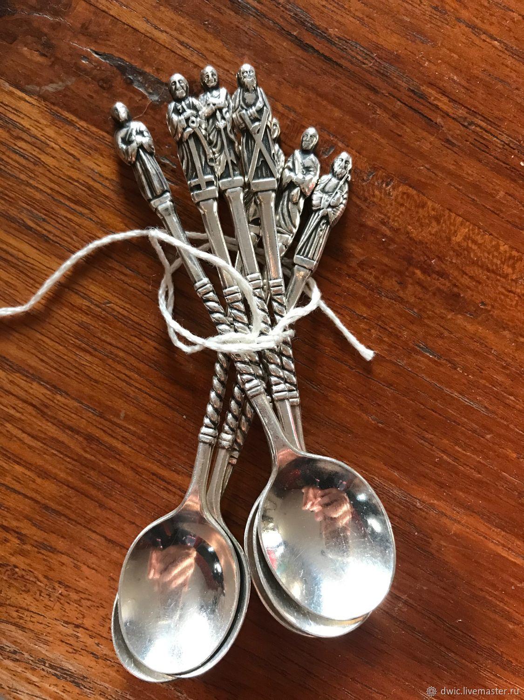 Silver teaspoons 'Seven wise men' 90 sample, Germany, Vintage Cutlery, Arnhem,  Фото №1