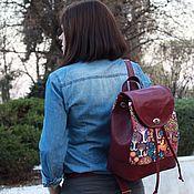 """Рюкзаки ручной работы. Ярмарка Мастеров - ручная работа Кожаный рюкзак Марсала """"Волшебный лес"""". Handmade."""