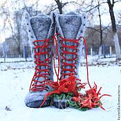 """Обувь ручной работы. Ярмарка Мастеров - ручная работа Валенки женские """"Елена"""" серый красный валенки шерсть. Handmade."""