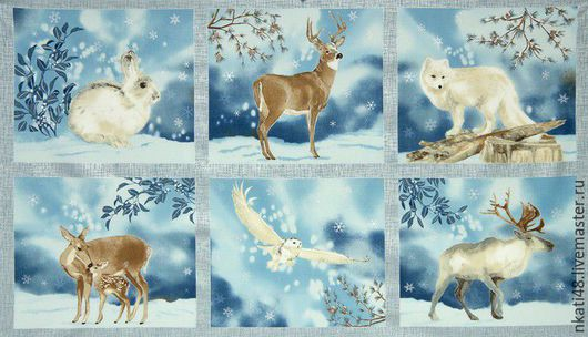 Шитье ручной работы. Ярмарка Мастеров - ручная работа. Купить Новогодние ткани для пэчворка WINTER WHITE PANEL. Handmade. Комбинированный