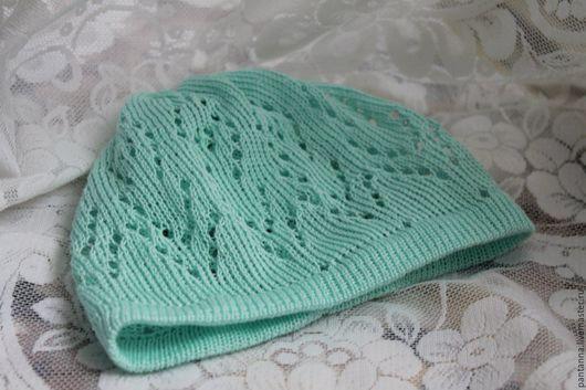 ажурная шапочка , летняя шапочка , детская шапочка бирюза, модно, вязанная шапка