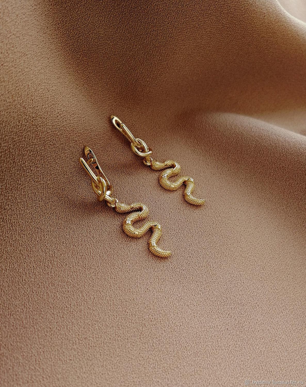 Snake Earrings. Stylish spectacular gold earrings, Earrings, Novosibirsk,  Фото №1