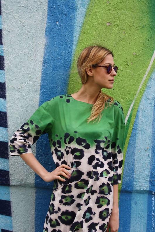 Платья ручной работы. Ярмарка Мастеров - ручная работа. Купить Платье весеннее  КРАСКИ АКВАРЕЛИ. Handmade. Ярко-зелёный