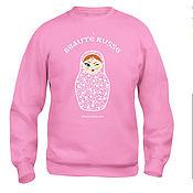 Одежда ручной работы. Ярмарка Мастеров - ручная работа Свитшот с матрешкой (розовый). Handmade.