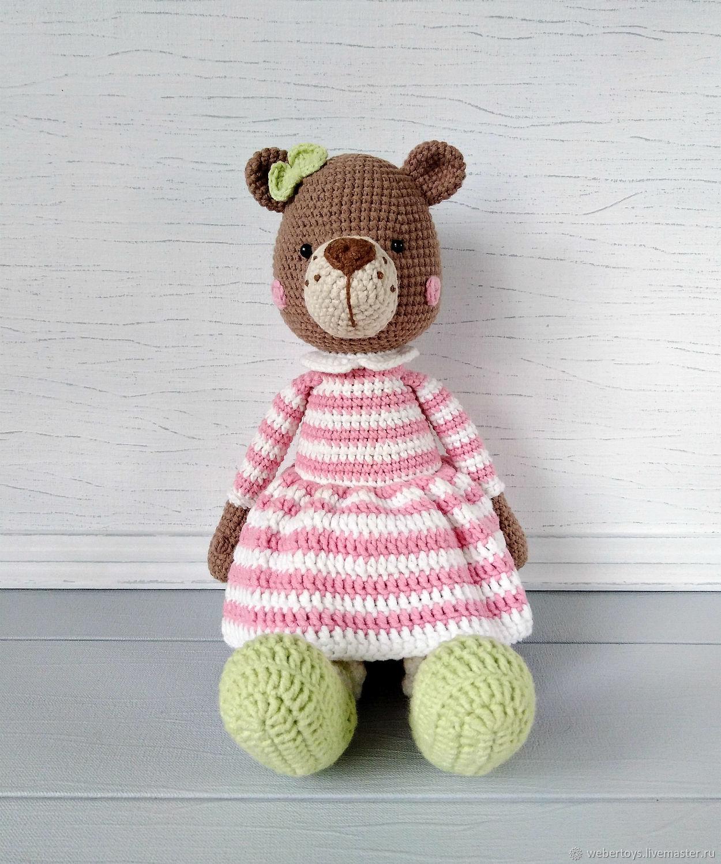Медведица в платье вязаная игрушка, Мягкие игрушки, Нижний Тагил,  Фото №1